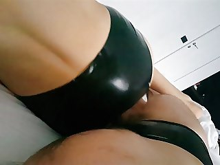 Sex with my wife in black latex pants in hotel