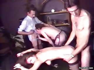 Hairy granny enjoys anal in group sex