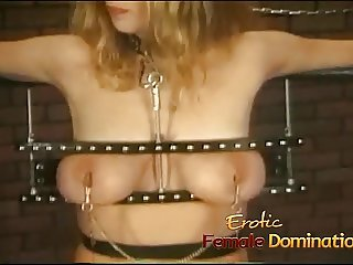 Big tits girl is a perfect subject for some painful female