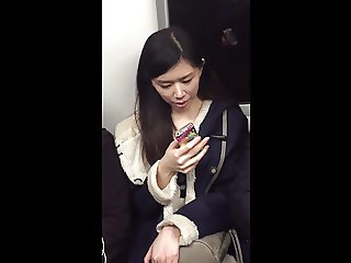 Candid Beautiful Asian on Train in Opaque Tights Legs