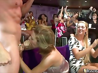Cock craving women suck stripper dick at CFNM Party