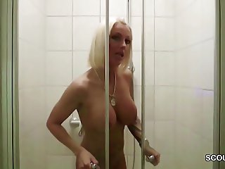 German Big Tit Mom Caught Friend of Son and Fuck in Shower