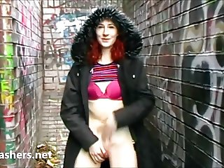Redhead exhibitionist Monicas public masturbation amateur