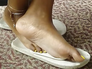 Candid Ebony Soles in Library