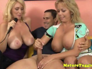 Monsterboobs milf duo making a dude cream