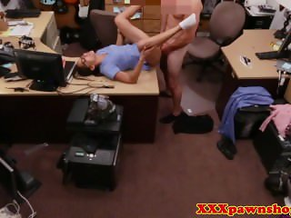 Pawnshop spex amateur fingered and fucked out back