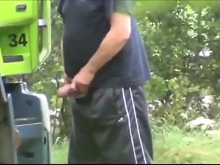 Truck Driver Piss And Jerking Hung Cock In Tr