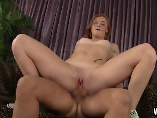 Skinny Ginger Takes Her First Taste Of Cock.