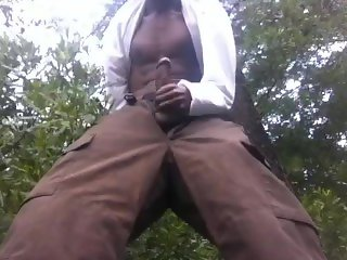 Outdoors: trees and a nice cumshot
