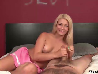 Teen bimbo wants to jerk you off