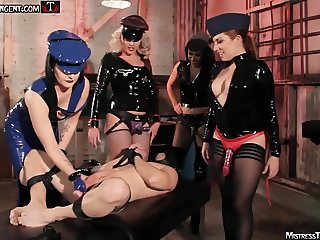 Strapon gang bang with Mistress Tangent and femdom friends