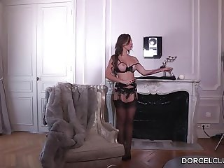French girl  lingerie & extreme arched high heels stockings