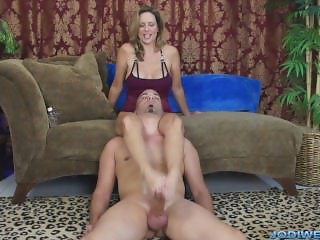 Jodi West - Over the shoulders footjob #1