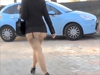 Lady walk and  exciting sexy upskirt.