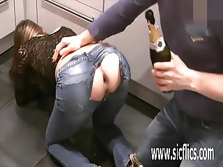 Fisting his girlfriends greedy gaping ass hole