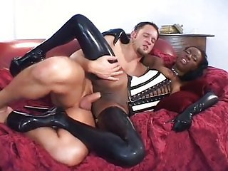 Black Lady Enjoy Big White Gardener Dick