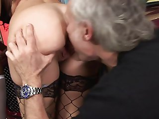 Hot ebony and slutty brunette share old man's dick on the couch