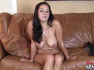 Hot big boob girl masturbating her pussy during interview
