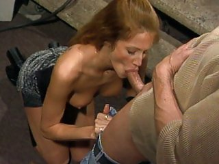 Caucasian blonde sucking pole sweetly