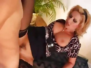 Busty Maid seduce young boy to fuck her arse