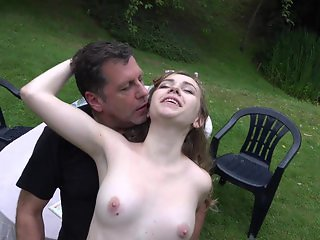 French college girl outdoor sucking and fucking an old cock mouth cumshot