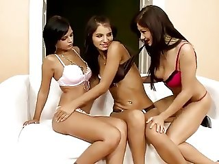 Three beautiful Brunettes licking pussies