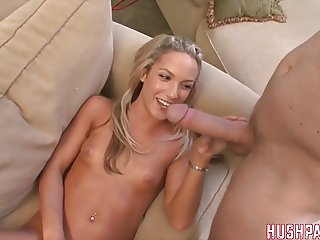 Cute Blonde Takes Biggest White Cock