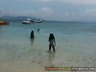 Gorgeous African babes horny in summer