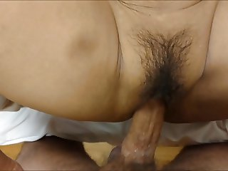 Mature hairy Asian wife & creampie cleanup