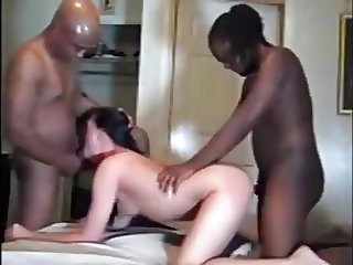 HOT WIFE  WITH TWO BLACK GUYS