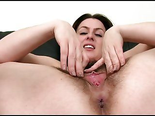 Hairy girl showing her pussy lips