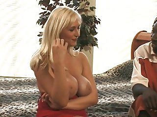 Blonde gets her pussy pounded by a big black cock
