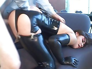 Latex chick gets her ass banged
