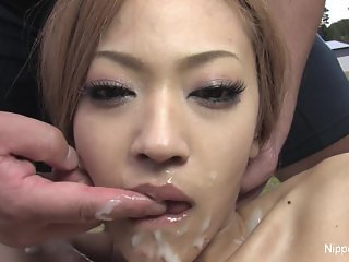 Cutie gets soaked in cum after sucking cock