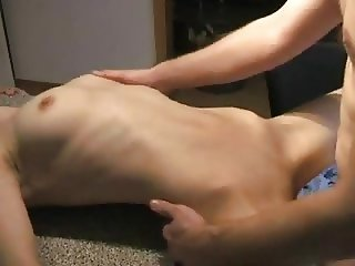 Girl fucked on counter-top gets a pussy full of cum