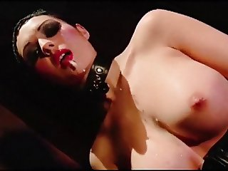 NEON SEX DEMON - leather goth babe in stockings fucked