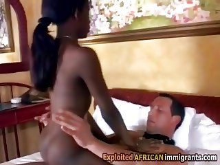 Young African beauty in interracial 3way