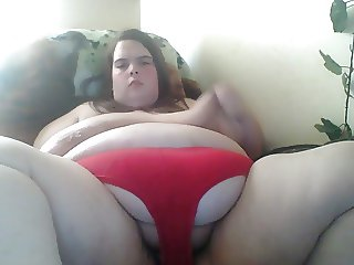 masturbating in red panties