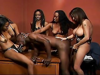 Ebony Girls Fuck A Guy With Strap On's