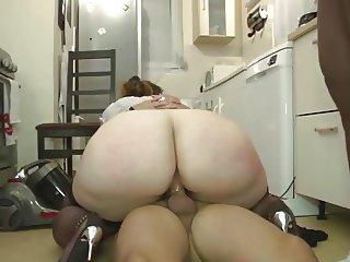 hot french plumper with  huge fat ass gets double drilled