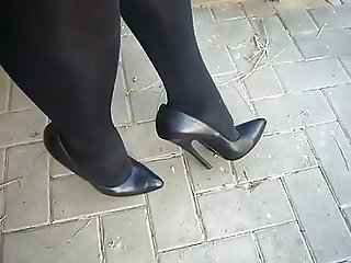 Black Leather High Heels Pumps with 17cm