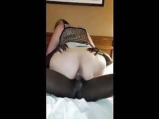 My 63 year old wife ride black and full orgasm