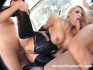 Big tit blonde fuck two dicks as hard as she can!
