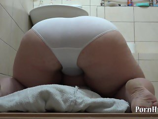 fat lady Irene, urinating in white panties!