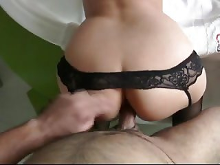 Penelope - Anal with black garters at Home