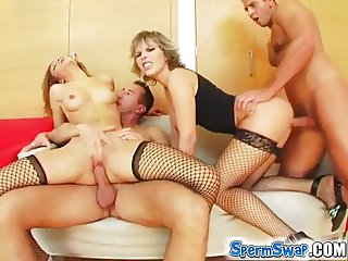 Sperm Swap Pair of sex kittens banged with double cum load
