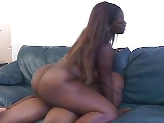 Black Babe Rides a Cock - Cum Early