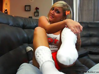 Hot girl give footjob