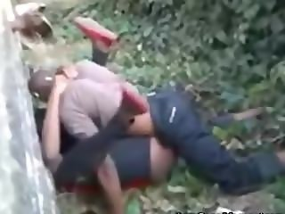 African guy fucking a girl while people are filming