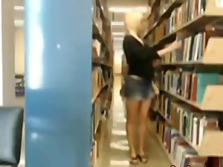 Sexy hot blonde gets caught masturbating in public library 2